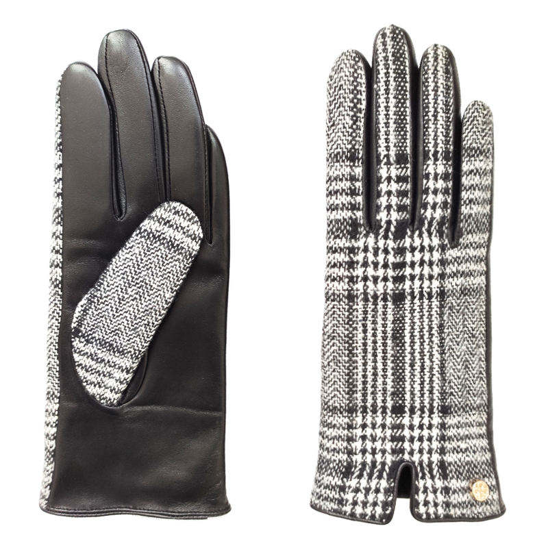 OEM Costom Fashion Women Houndstooth / Sheepskin Winter keep warm Leather Gloves