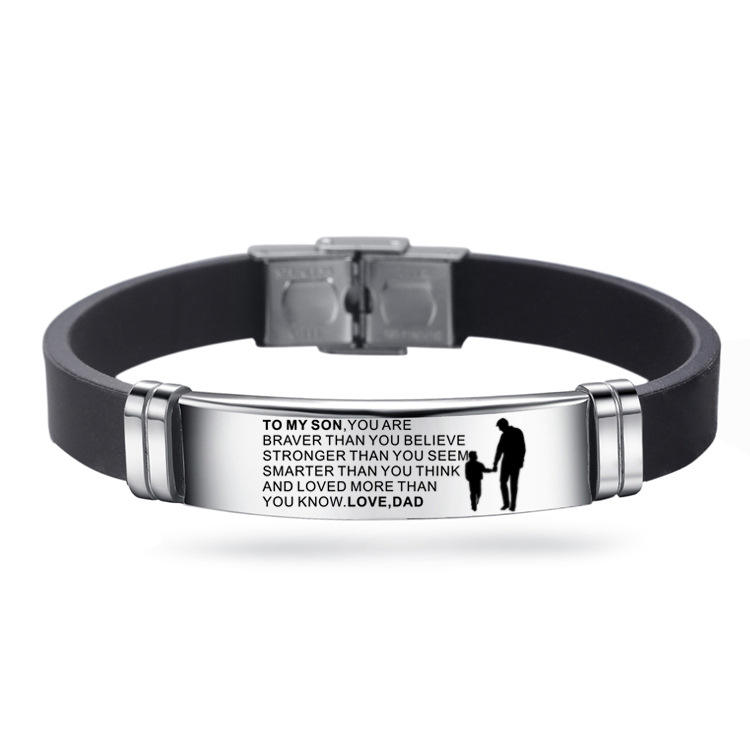 Custom Bracelet Jewelry TO MY SON Stainless Steel Engraved Inspirational Words Adjustable Silicone Wristband Bracelet
