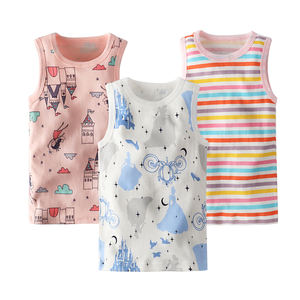 custom Summer Style Girls Tank Top Cotton Underwear Kids Printed Girls Camisole Children Undershirt Model Baby Singlet