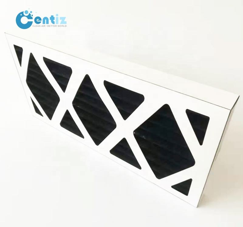 Cardboard frame pleated activated charcoal fiber media active carbon filter