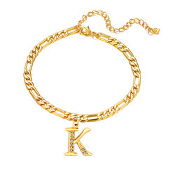 Wholesale Zircon Cuban Link Anklet Gold Plated 26 Initial An