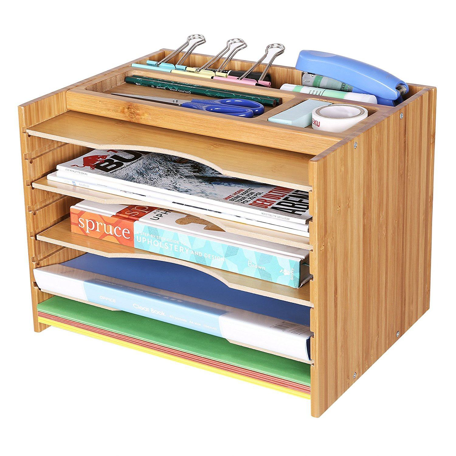 Office Adjustable Height Removable 5 Tier A4 Document Magazine Wooden Desktop Organizer