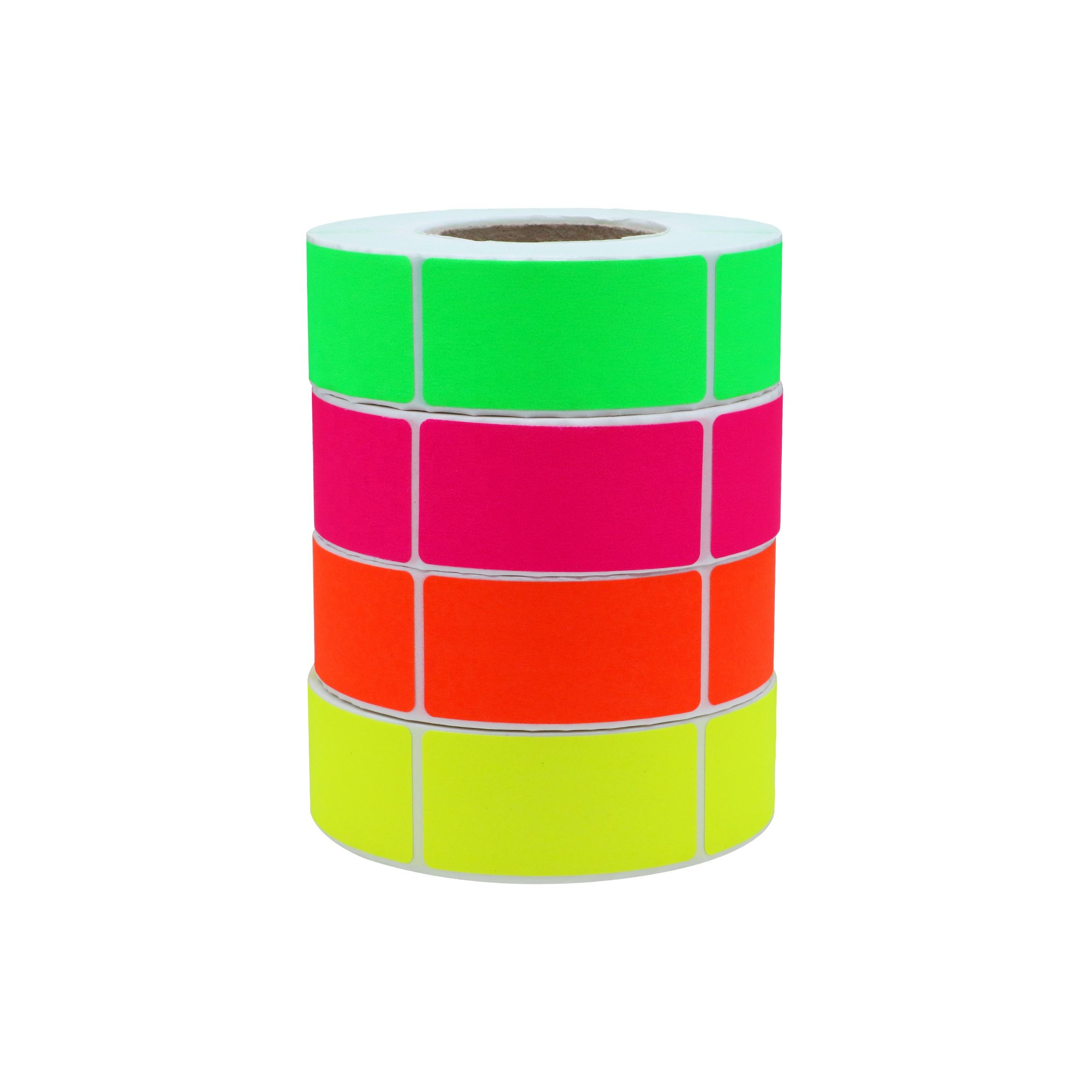 Hybsk 1x2 Inch Color-Code Labels Fluorescence Green/Red/pink/yellow Blank Sticker Rectangle 500 pcs/Roll