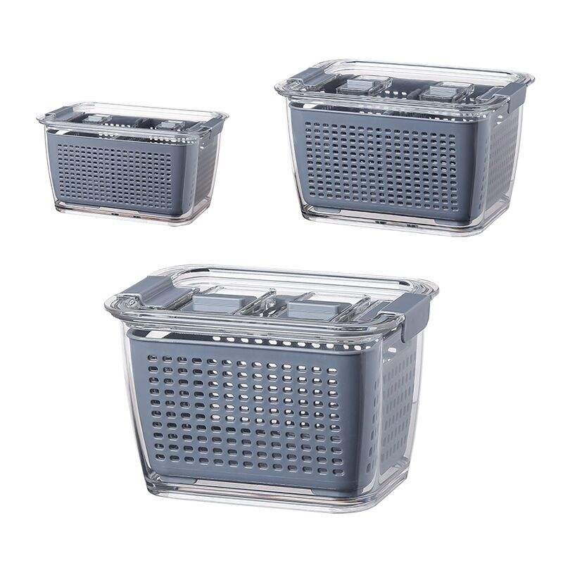 Japanese style drain fresh plastic box basket kitchen refrigerator sealed fruit and vegetable washing drain storage basket