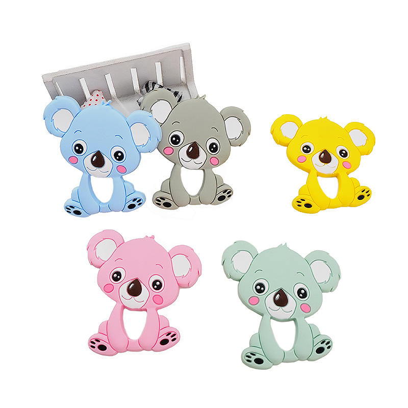 2019 BPA Free Custom Koala baby rattle dummy silicone teether