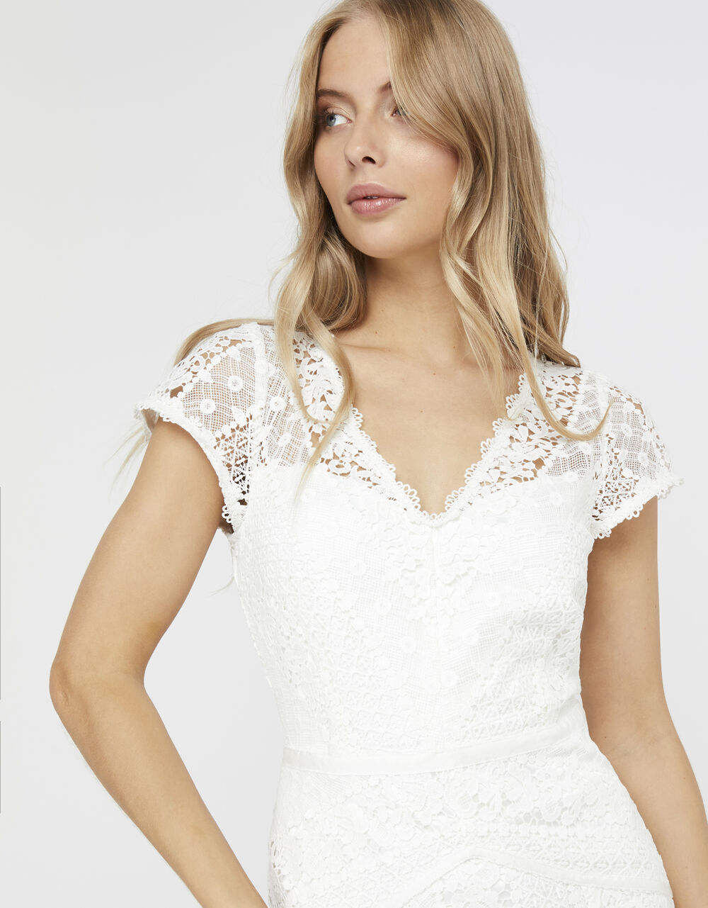 Factory Direct Women Short Sleeve Elegant Summer White Sexy Lace Dress Fabric
