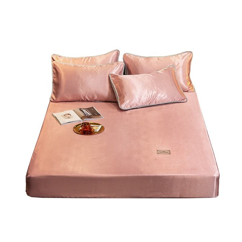 Solid fitted sheet style Ice silk summer sleeping mat
