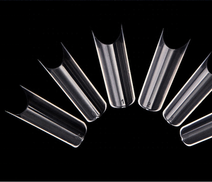 Extra Long Curved C Shape Artificial Fingernail Tips TD202005290 Wholesale 550PCS/BAG Clear/Natural Half-cover False Nail Tips