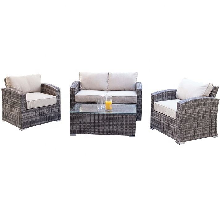 Grey Nightingale 5 Pieces Patio Sectionals Set Durable Aluminum Frame with Smooth Rattan Surface