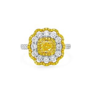 Luxury Halo Style Engagement Jewelry Yellow 0.8ct Cushion Cut Halo Diamond Ring