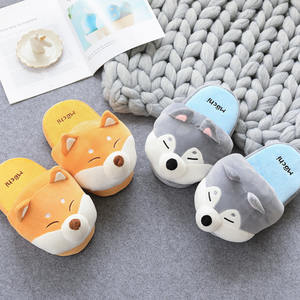 Lovely Customized cute women girl plush animal shaped slippers wholesale