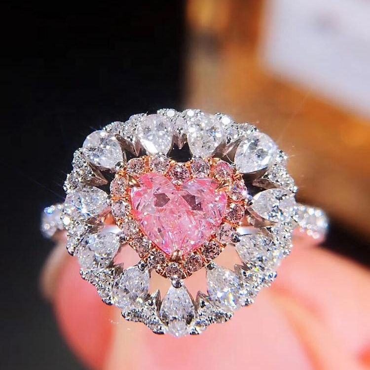 Fashion 18K High Quality Custom Pink Diamond Rings jewelry women diamond