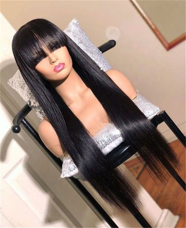 Virgin Hair Silky Straight Brazilian Human Hair Wigs with Bang Lace Front Wigs for Women