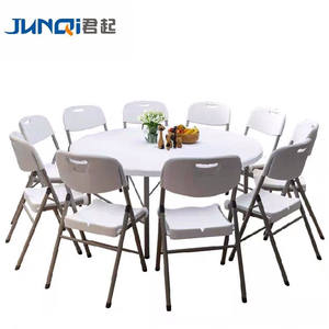 Hot sale plastic Folding table round used for banquet outdoor wedding folding tables 6 ft table chairs