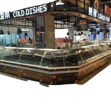 Glass door cooked food deli display cooler/ daily display service counter/display refrigerator for supermarket