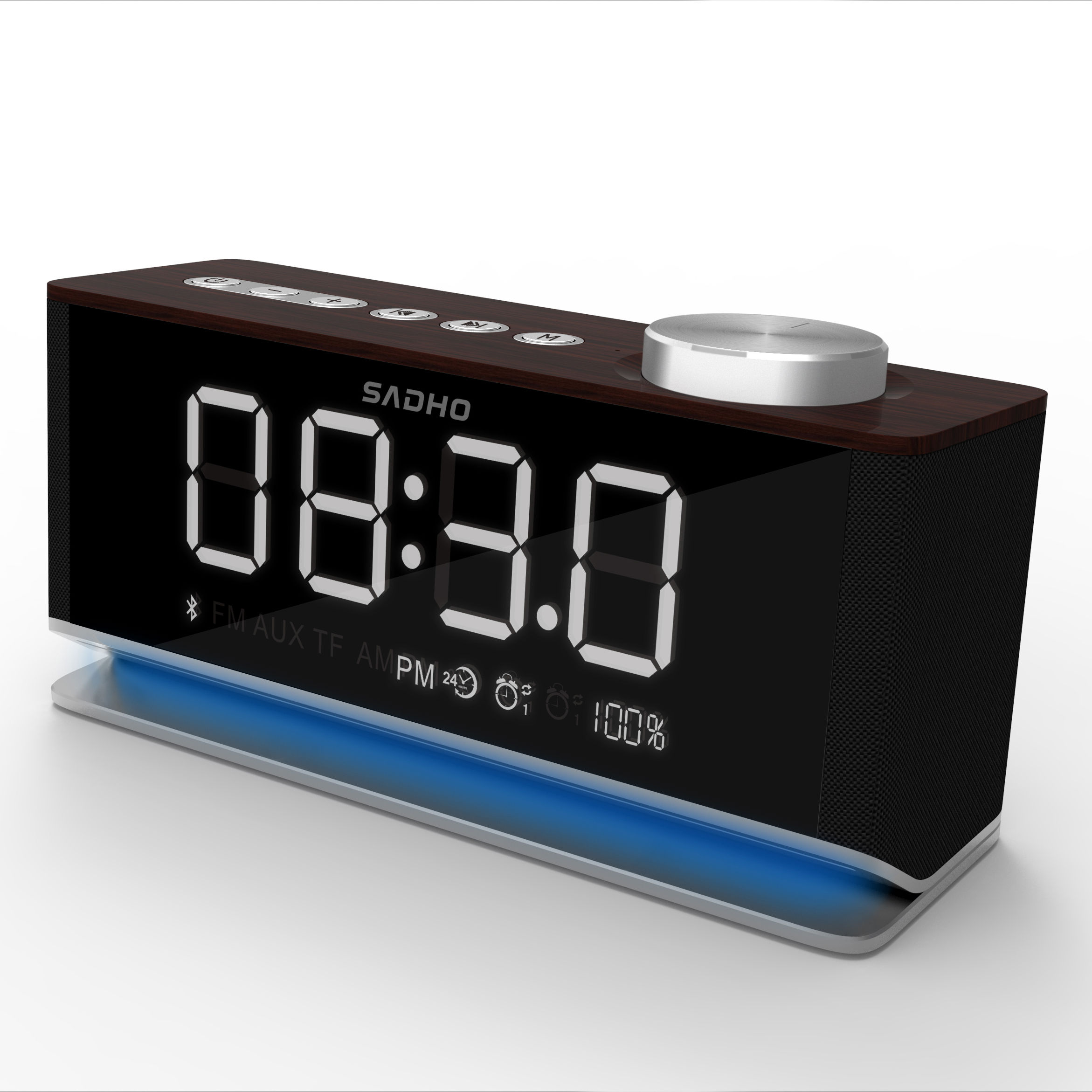 OEM Super Sterio Portátil Grande Poder <span class=keywords><strong>Bluetooth</strong></span> <span class=keywords><strong>speaker</strong></span> com TF music player LED alarm clock