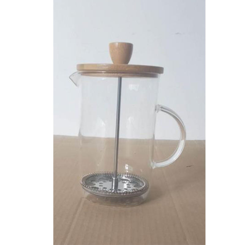 Tutup Bambu Kaca French Press Cafetiere Double Wall Coffee Plunger <span class=keywords><strong>Kopi</strong></span> & Teh 600ML