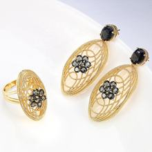 Gold/Rose/Silver Plated Jewelry Rings and Earrings Set Party Jewelry Design For Ladies