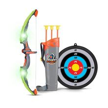 Kids Bow and Arrow Set Sport Archery Toy with 3 Suction Cup Arrows, Target and Quiver Glow in the Dark