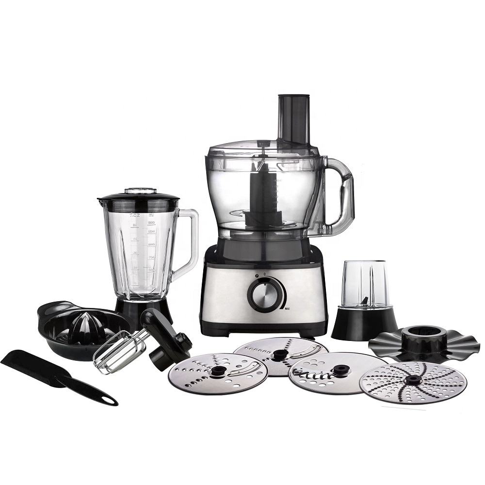 1000W Stainless Steel Food Processor with 3.5L BPA-Free Bowl, 1.5L Glass Blender Jug