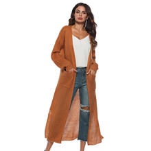 New European Women Autumn Slim Long Cardigan Long Sleeve Pocket Mohair Cardigan