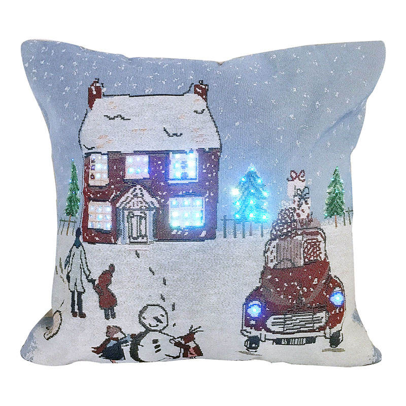 New design popular Fiber optic bright led christmas cushion covers christmas pillow