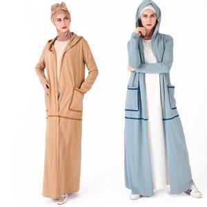 2019 fashion cotton islamic kimono front open abaya muslim woman hooded sport abaya with pockets
