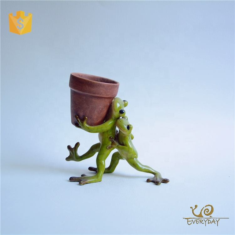 Z11161A High Quality Resin Tabletop Office Desk A Planter Pot Old Stone Frog Shape 5 Inch Flower Pot