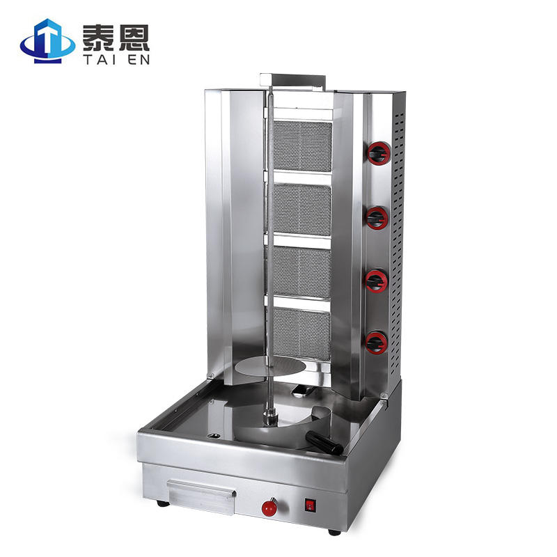 4 Burners Tabletop Meat Product Making Machine Churrasco Turkey Doner Kebab Making Gas Chicken Shawarma Machine for Sale