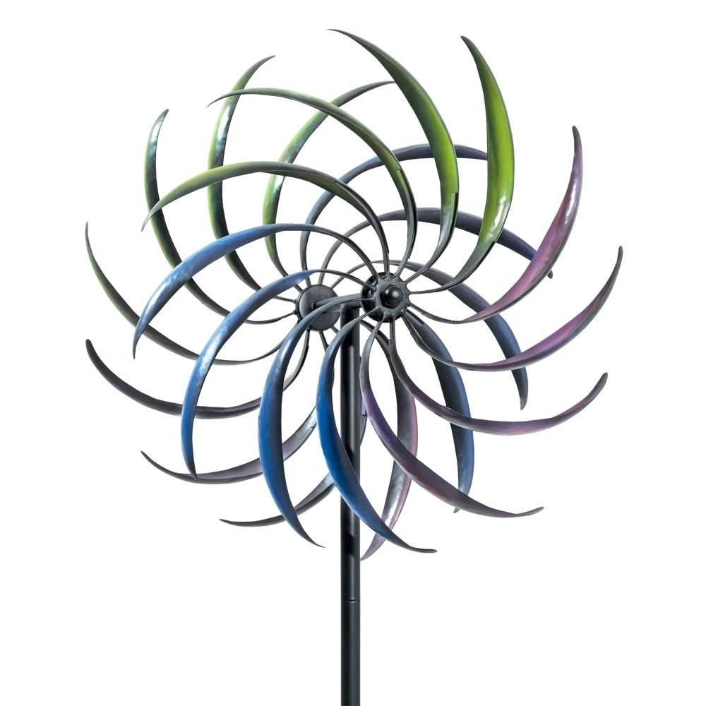 Colorful Vertical Ornamental Metal Colorful Outdoor Garden Stake Windmill Wind Spinner