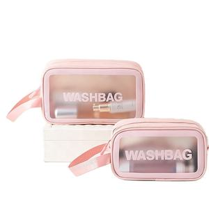 Pink Waterproof TPU Zip Pouch Kit Transparent VANITY Beauty Bag Clear Cosmetic Travel Makeup Wash Bag(Accept Custom Logo)