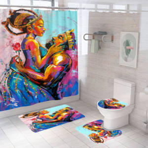 Brand new good quality African women printed bathroom shower curtain