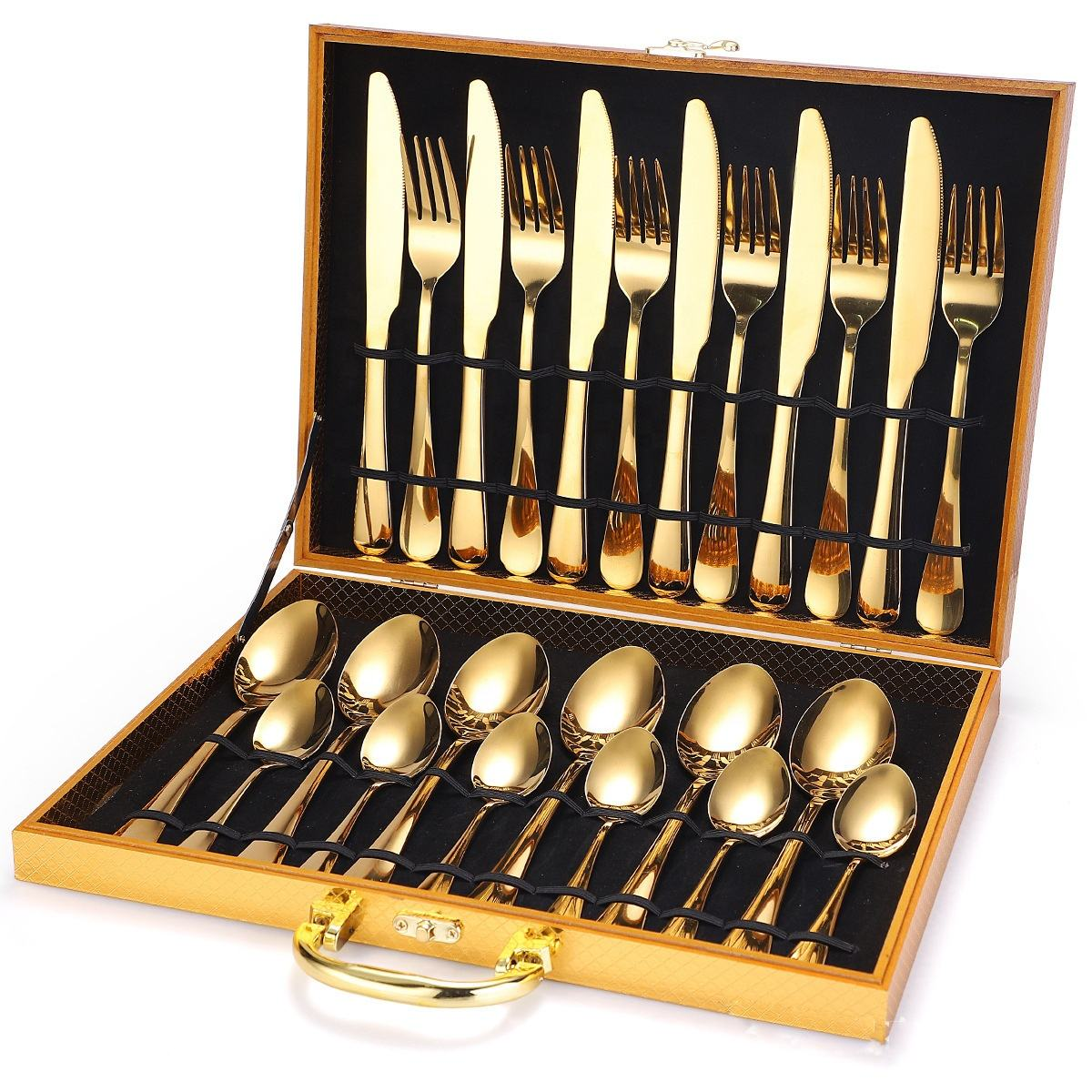 Best-Selling 24-piece Stainless Steel Gold Cutlery Set With Wooden Box