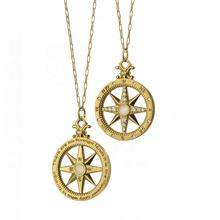 Bohemian 18k gold plated fashion jewelry pendant custom compass coin necklace