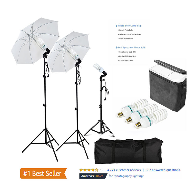 Amazonホット販売写真Photo Portrait Studio 600W Day Light Umbrella Continuous Lighting Kit