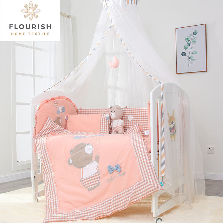 Flourish Wholesale Organic Cotton Polyester Fabric Nursery New Born Baby Crib Baby Bedding Set For Boy