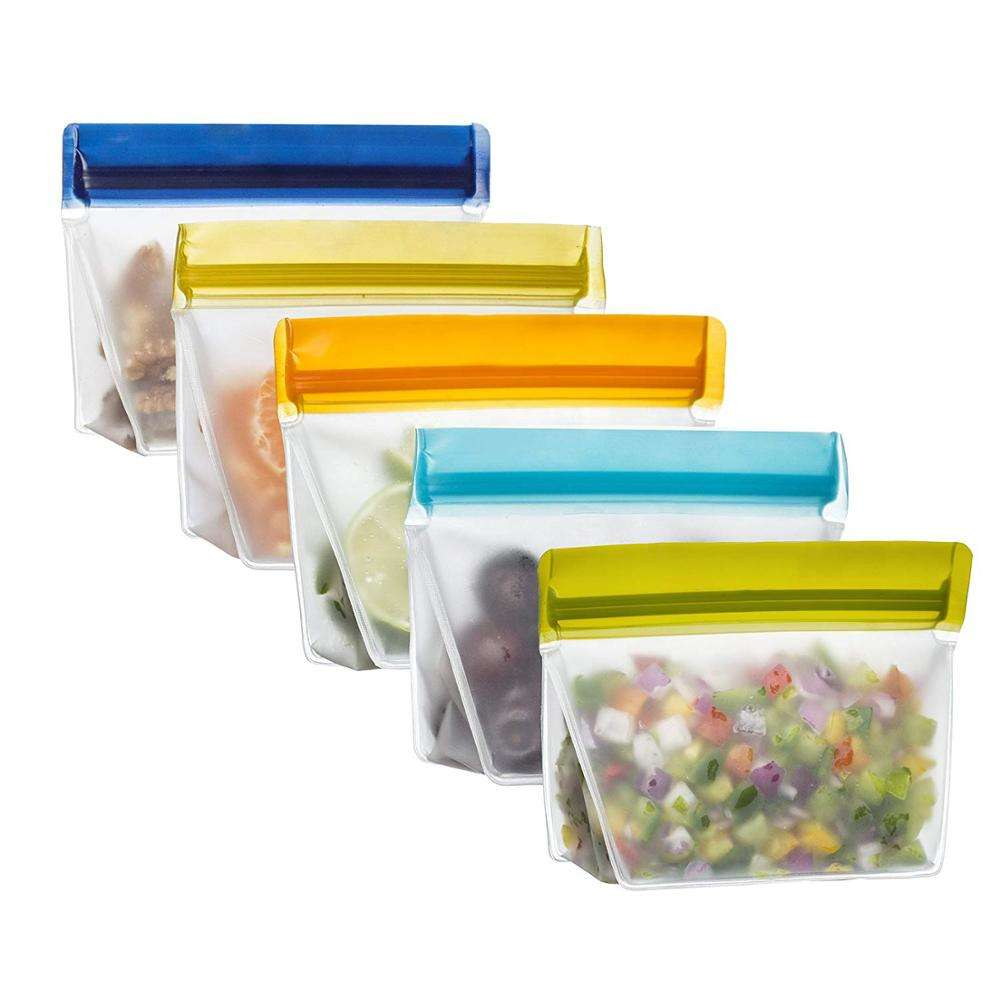 Zipper Eco- Friendly Leak proof Freeze PEVA food storage bag r Reusable PEVA Sandwich Food Storage Snack Bag