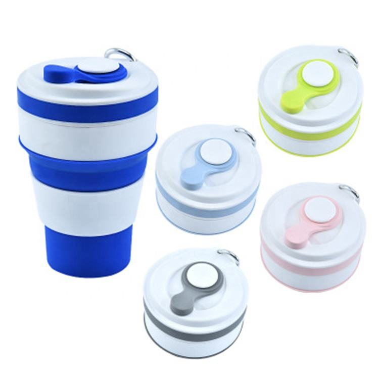 Wholesale cheap travel camping folding Silicone Tape straw cup coffee cup folding accordion folding water cup