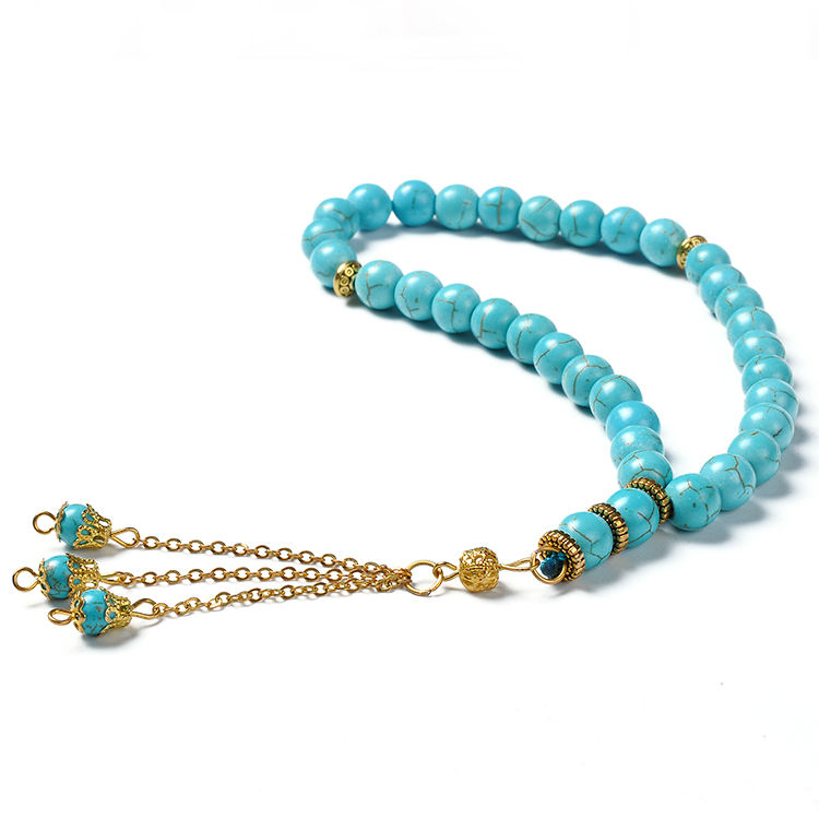 YYS001 islamic male jewelry muslim rosary jade stone arab Turquoise digital turkish 33 tasbeeh prayer beads tesbih tasbih