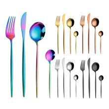 Cheap Thin Handle Iridescent Flatware Colorful Metal Pvd Coating Multicolor Titanium Rainbow Cutlery Set
