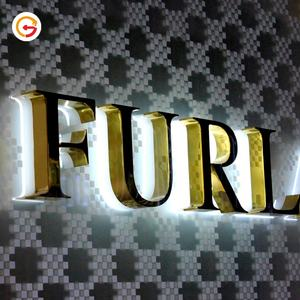 JAGUARSIGN Custom Restaurant Outdoor 3D Led Lighting Letters Sign Manufacturer Backlit Gold Logo Sign for Shop Store Front