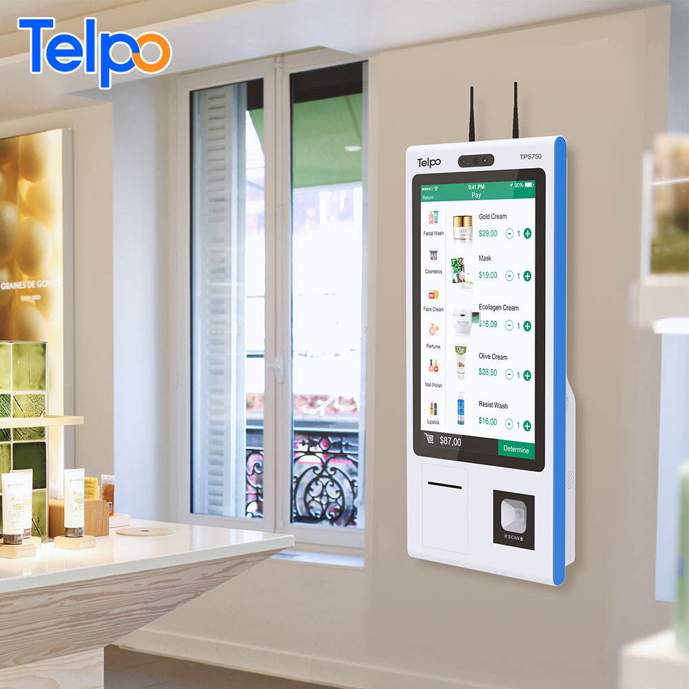 Telpo 23.8-inch fast food touch screen payment self service kiosk with Check-Out Desk