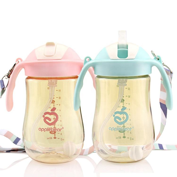 Apple bear PPSU children learn drinking kettle with handle straw baby drinking cup 320 ml