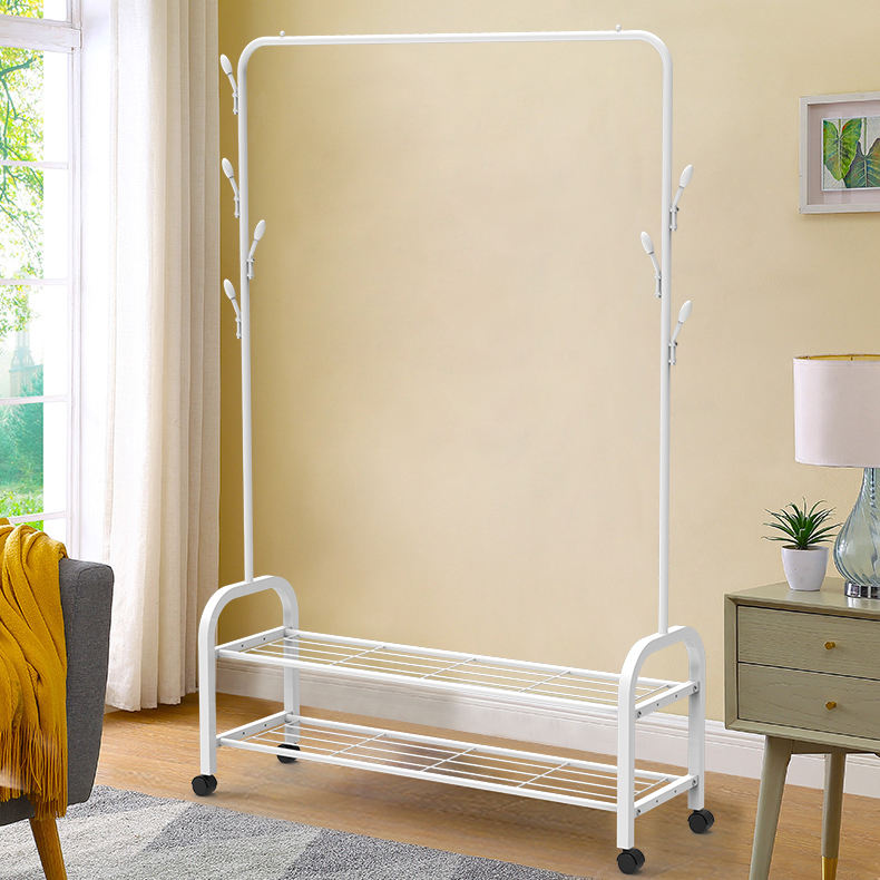 BAIYEA Industrial Coat Rack Shoe Bench Rack, Clothing Rack with Metal Frame 3 in 1 Design
