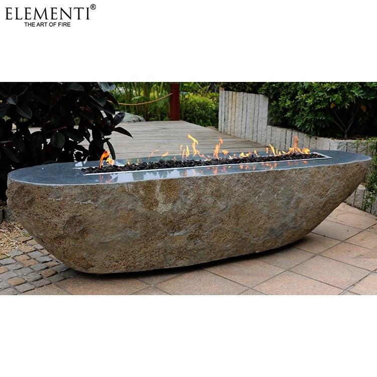 ELEMENTI large outdoor garden propane nature gas stone fire pit