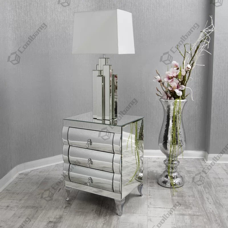 Latest design hot sales fashionable curved mirror nightstand mirrored furniture