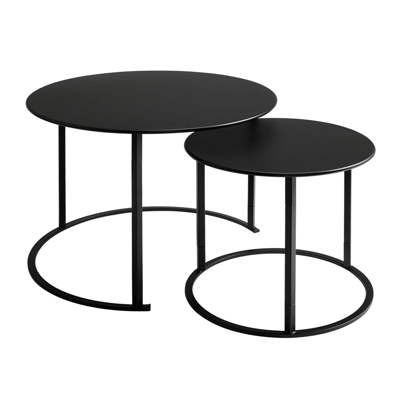 Nordic design metal black furniture marble wooden round modern coffee tables