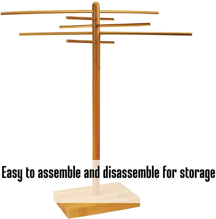 "Bamboo Pasta Drying Rack 53-0201 10 Drying Arms 16"" Tall 14"" Wide Stores Flat"