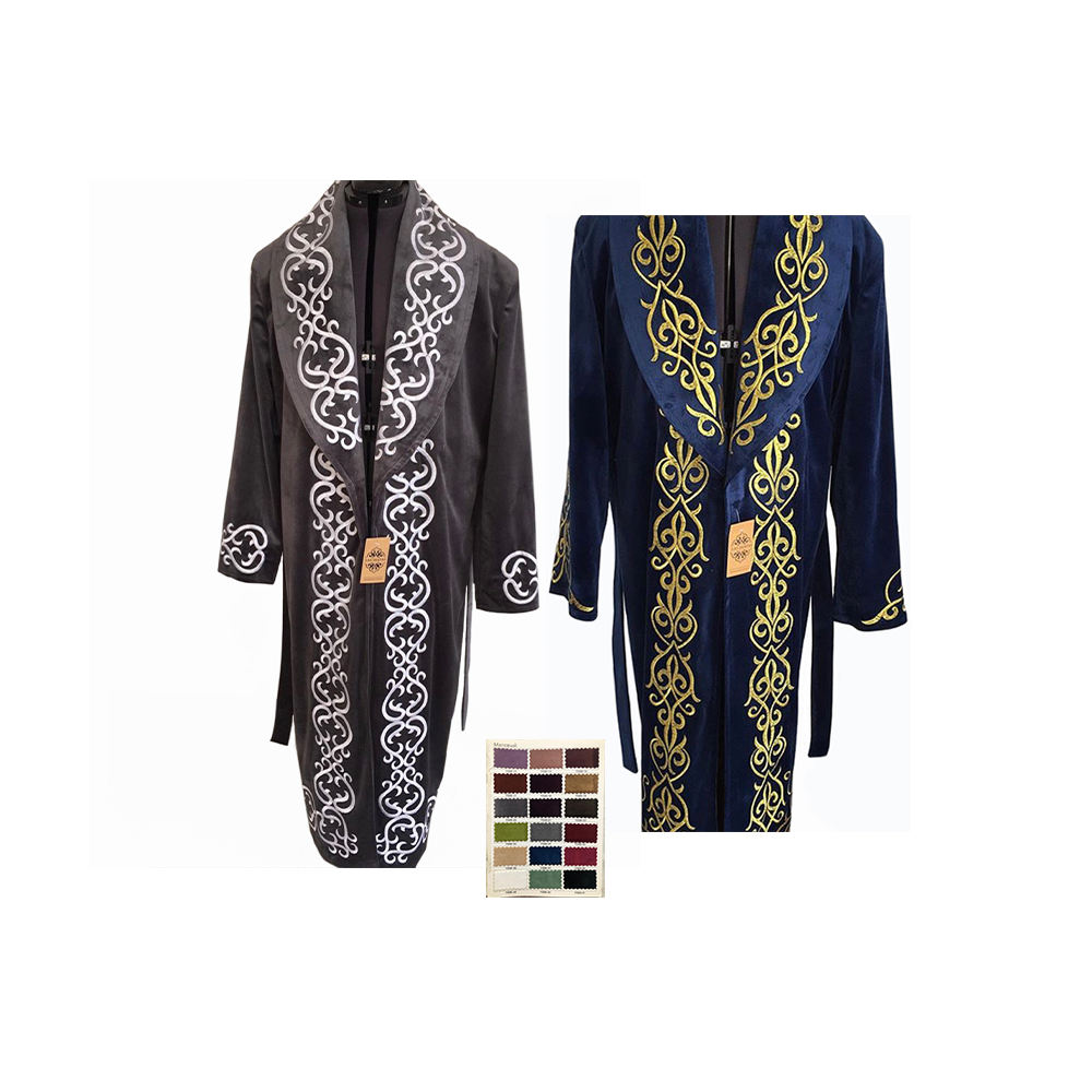 With Embroidered Ornament Men Full Length Long Sleeve Clothing Overcoat