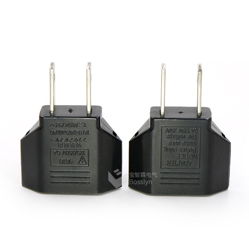 Power Plug Adapter Converter Europe to USA 2pin 4.0MM Plug with Socket Non-grounding Residential / General-purpose
